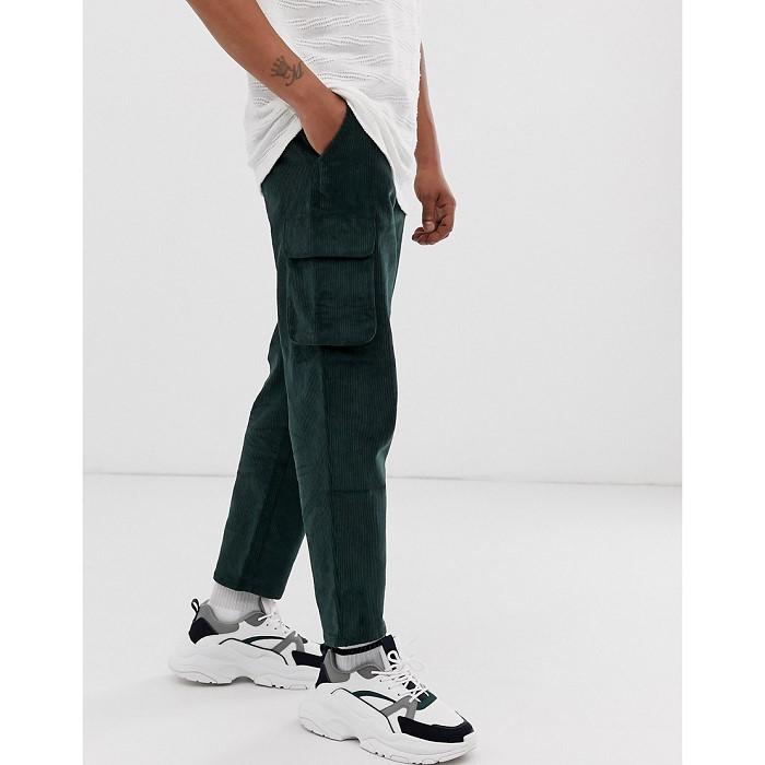 아소스 ASOS DESIGN relaxed cargo pants in dark green co_r_d 1462325