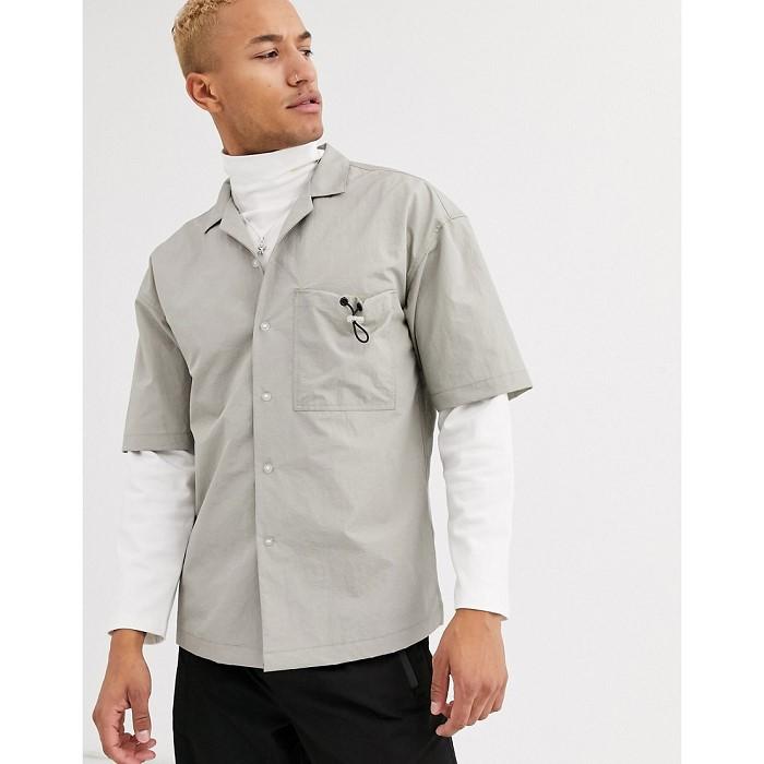 아소스 ASOS WHITE boxy shirt with toggle pocket detail 1503949