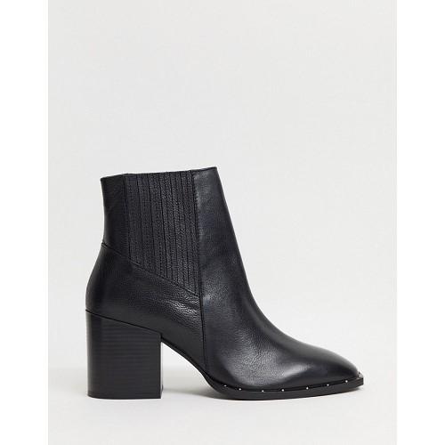 아소스 ASOS DESIGN Restless leather block heel boots in black 1691821