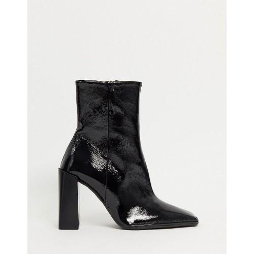 아소스 ASOS DESIGN Erico premium leather patent heeled boots in black 1759117