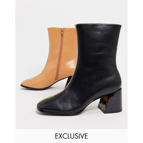 Z_Code_Z Exclusive Nat vegan square toe ankle boots in black and camel mix 1752101