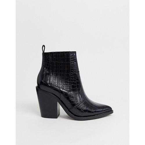 아소스 ASOS DESIGN Elliot western ankle boots in black croc 1467529